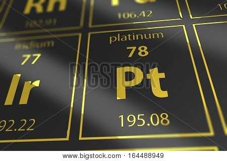 Periodic Table Platinum Chemical Element Closeup. 3D Rendered Illustration Mendeleev Table Platinum in a Spot.