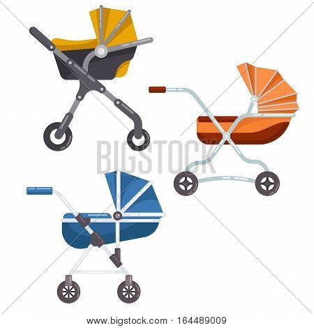 Set of icons for baby carriage or buggy, child wagon or folding stroller, toddler transport or newborn pram, infant cradle. Childhood and kid, birth and parenting, mother walk and parent care theme