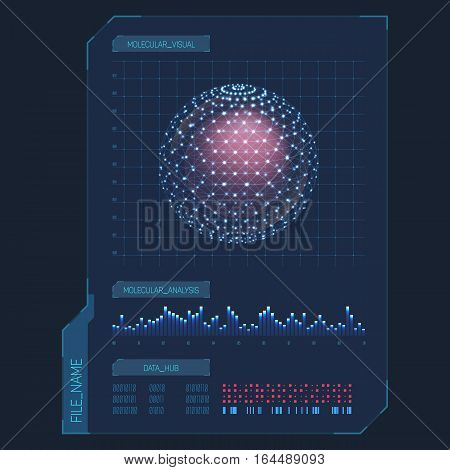 Infographic futuristic items for molecule or cell analysis. Bar graph or chart for molecular analytics, data information design. Science or biology technology presentation, chemistry document