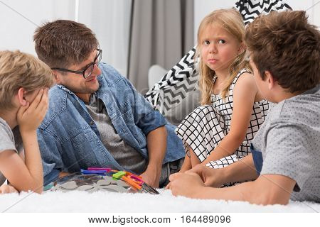 Dad Spending Time With Children