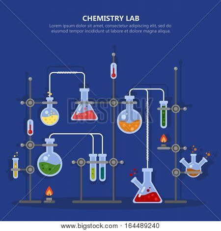 Science laboratory or chemistry lab for analysis or experiment. Glassware flask and pipes or tubes, boiling or heating chemical reaction research. Equipment for school or scientist experiment
