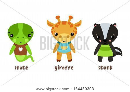 Animal cartoon characters isolated set of icons. Safari giraffe in cloth and lizard or reptile river smiling snake, wood or forest cheerful skunk baby or kid. Woodland zoo funny characters, humor zoology theme
