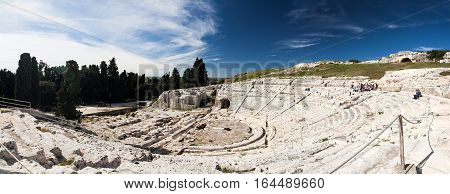 the greek amphitheater in siracusa - sicily, italy