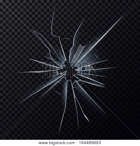 Broken glass or cracked glassware in window. Hole in shattered frame, crushed or break mirror surface. Wreck and danger, damage and crush, crime and accident, anger and destroying effect