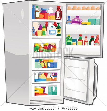 An image of a modern fridge freezer unit with doors open.
