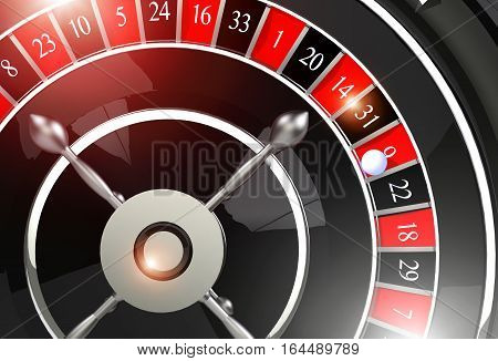 Roulette Wheel of Fortune. Elegant Black and Chrome Shiny Roulette Wheel Game. 3D Rendered Illustration.