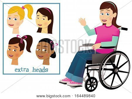 A young girl waving from a wheelchair. Four different heads for a unique combination.