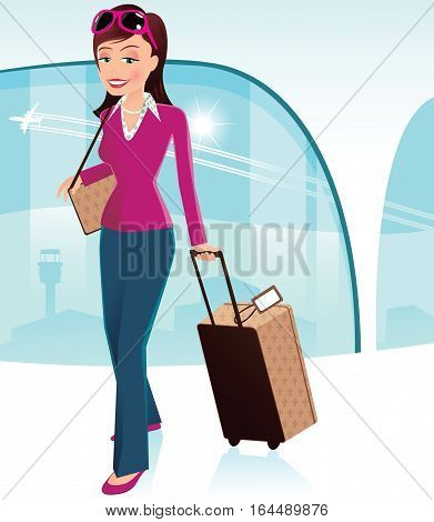A young woman wheeling her luggage through an airport lounge area.