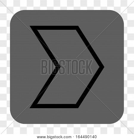 Arrowhead Right interface toolbar button. Vector icon style is a flat symbol inside a rounded square button black and gray colors chess transparent background.