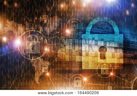 Global Safe Data Network Concept Illustration. Network and Internet Safety.
