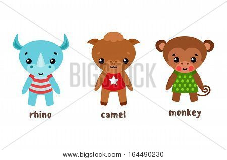 Happy or funny animal cartoon characters. Rhino or rhinoceratops in cloth, baby dromedary or bactrian child camel or camelus, goof, monkey or ape, primate and mammal lemur, smiling galagos.