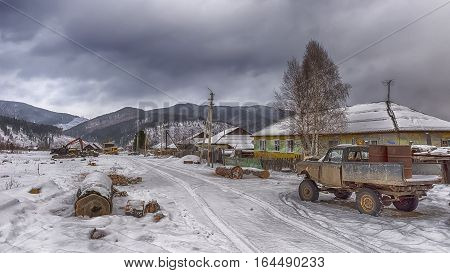Siberian village in taiga in Khakasia in Russia