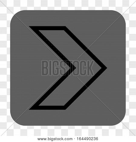 Arrowhead Right interface toolbar button. Vector icon style is a flat symbol in a rounded square button black and gray colors chess transparent background.
