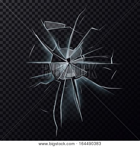 Wrecked and broken, damaged glass. Shattered or cracked window background, broken screen surface crash effect, break on damaged mirror backdrop. Vandal and burglary, crime theme