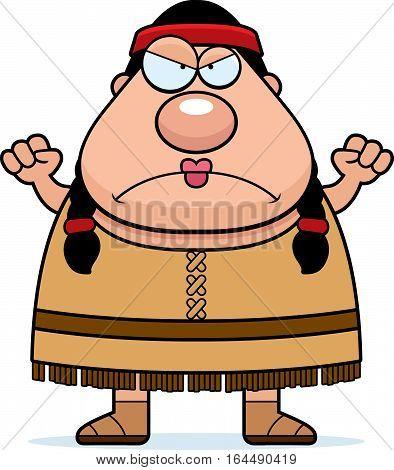 Cartoon Native American Angry