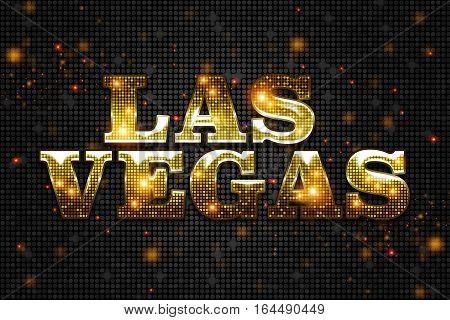 Shiny Golden Las Vegas Sign on Black Pattern Illustration. Las Vegas Concept