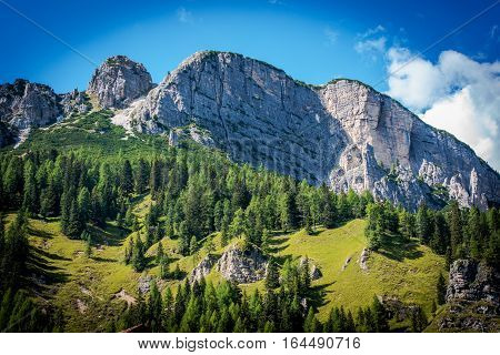 Summer in Dolomites Scenery. Italian Dolomites Mountain Landscape.