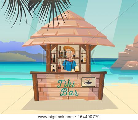 Hawaii tiki bar with alcohol beverage, drinks. Tropical lounge on island or isle beach with palm near ocean or sea with cartoon bartender poster. Seashore or coastline resort, travel or tourism theme
