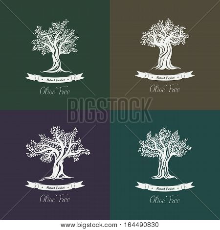 Greek olive trees with branches and ribbons icons set. Berries on twigs and stems. Vegan food or liquid viscous oil natural or organic product. Bottle label or sticker, agriculture and flora theme.