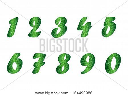 Standard set of numbers. Vector collection in emerald, green color with spangle. Can be used as a design element, independent project, in web draft, etc. Isolated on white background. Horizontal.