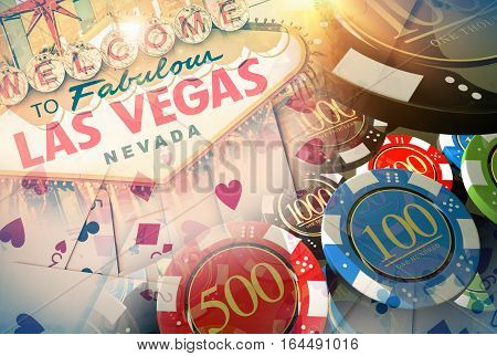 Vegas Casino Games Concept Illustration with 3D Rendered Elements. Famous Las Vegas Entrance Sign Poker Cards and Casino Chips.