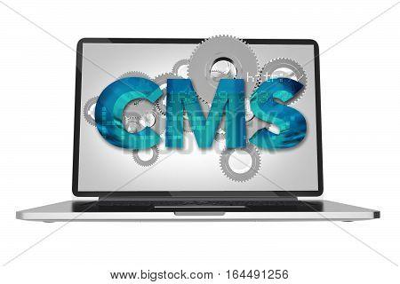 Website Content Management System Via Computer Screen Concept 3D Render Illustration. Web Design Technology and Systems.