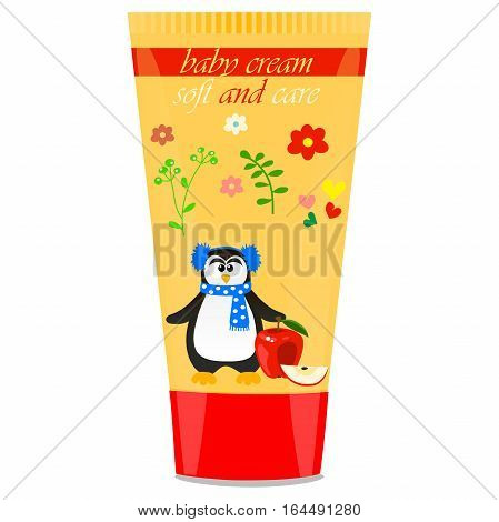 High quality original trendy vector Baby cream tube with kids design and pinguin, apple illustration
