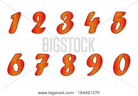 Standard set of numbers. Bright vector collection in red color with yellow spangle. Can be used as a design element, independent project, in web draft, etc. Isolated on white background. Horizontal.