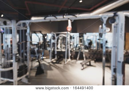 Blurry perspective view gym facility service room