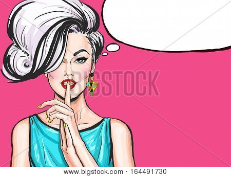 Pop Art illustration of girl with the speech bubble.Pop Art girl.