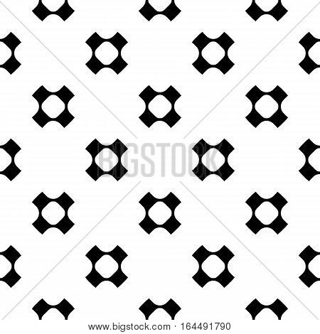 Vector monochrome seamless pattern, simple minimalist background. Black perforated crosses on white backdrop, rounded shapes, smooth lines. Modern abstract texture. Design for decoration, prints, digital projects web, textile, furniture, fabric, cloth