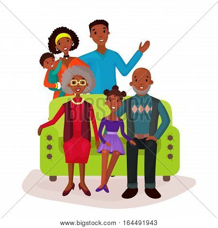 Parents and relatives family on sofa sign. Afro american father and mother with curly hair, baby or kid, grandmother and grandfather sign, wife and husband symbol.Holiday, celebration, happiness theme