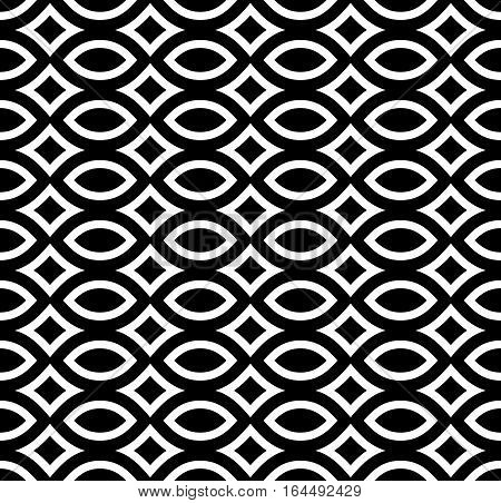 Vector monochrome seamless pattern, black & white repeat texture. Simple abstract mosaic background, symmetric geometric shapes. Design element for prints, decoration, textile, fabric, digital, web