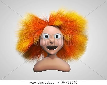 Redhead girl charackter. Redhead cartoon girl with flying hair. 3D illustration
