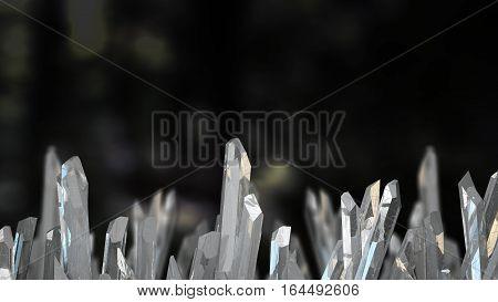 Crystal stone macro mineral. Quartz crystals on black background. 3D illustration