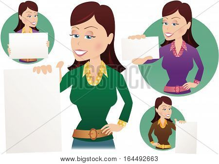 Four illustrations of a woman holding blank signs for your own messages.