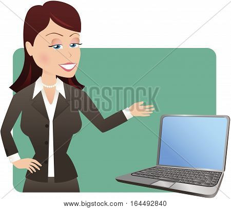 A young businesswoman gesturing to a laptop computer screen. Screen is blank for your own message.