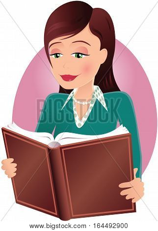 An image of a young woman reading a hardback book.