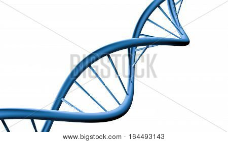 Dna Helix Molecule Isolated On White Background. 3D Rendered Ill