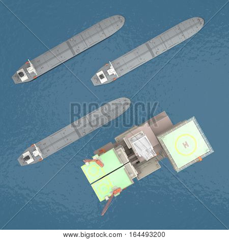 Oil platform with tankers on the sea. top view. 3d rendering