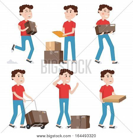 Courier characters,delivery man holding boxes in different poses.Shipping, logistics service in business and industry. Flat style vector