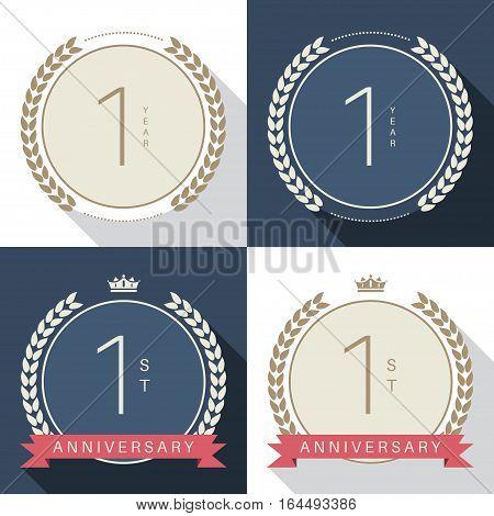 One year anniversary celebration logotype. 1st anniversary logo collection.