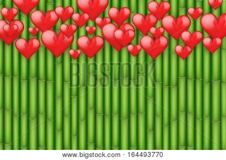 Bamboo background with red hearts. Card and Invitation of Happy Valentines Day Greetings. Vector Illustration