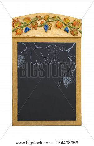 Chalkboard with relief grapes and the german word for wine (Wein), isolated on white