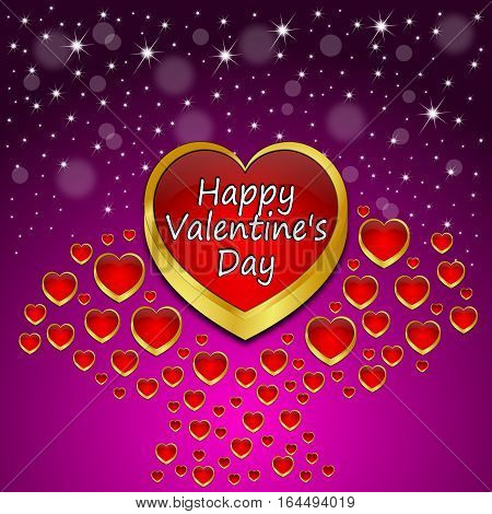 glossy purple red Valentine's Day Greeting card - 3d illustration
