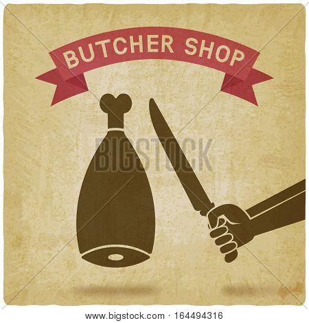 butcher cuts meat old background. butcher shop concept design. vector illustration - eps 10