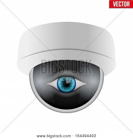 CCTV security camera with human eye. Technologies for monitoring and protection of territory. Vector Illustration isolated on white background.