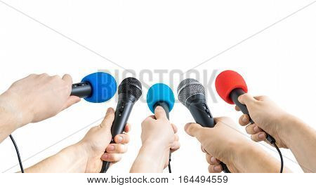 Journalism And Conference Concept. Many Reporter Hands Hold Micr
