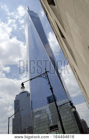 New York City USA - May 4 2015: one world trade center freedom tower in Manhattan from below
