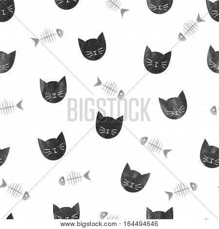 Seamless pattern with black cats and fishbones. Vector background.